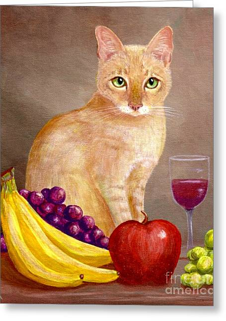 Red Cat Wine Greeting Cards - Fruit of the Spirit Greeting Card by Lisa  Adams