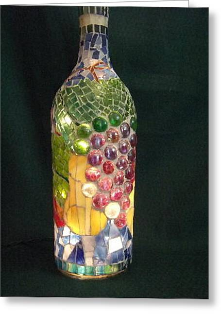 Wine-bottle Glass Greeting Cards - Fruit of the Vine Greeting Card by Kimberly Barrow