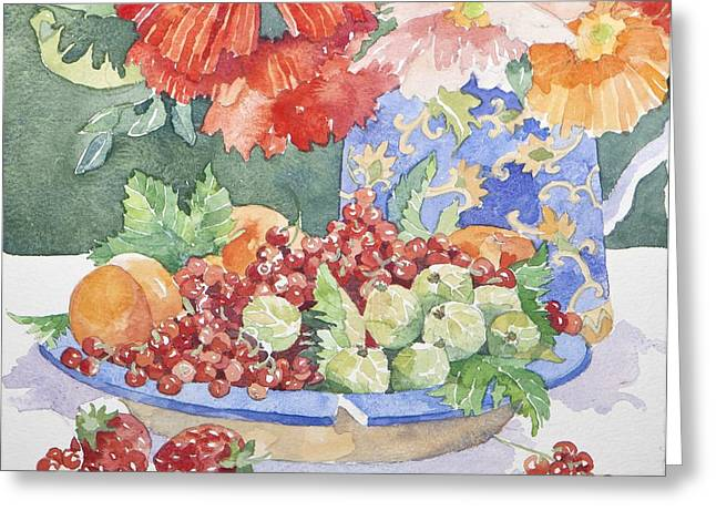 Water Jug Greeting Cards - Fruit on a plate Greeting Card by Jennifer Abbot