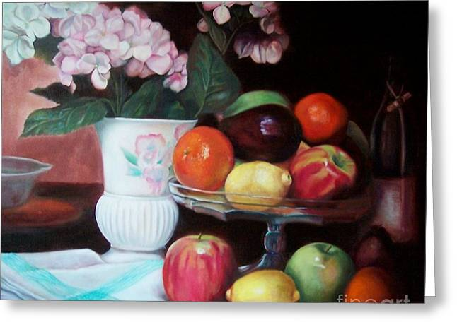 Still Life With Green Apples Greeting Cards - Fruit on Glass Dish II Greeting Card by Marlene Book