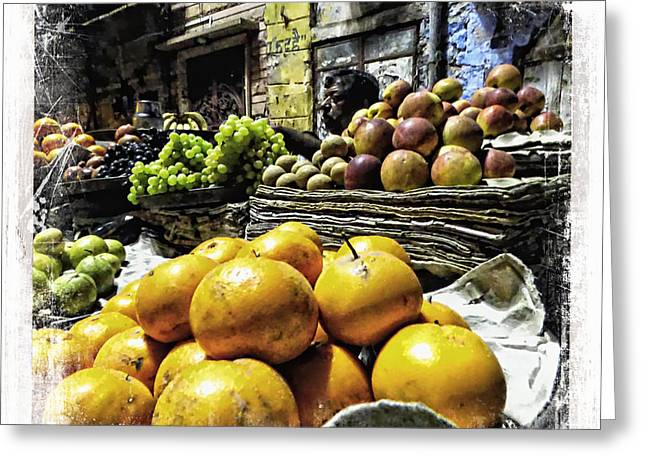 Occasion Greeting Cards - Fruit Seller Blue City Street India Rajasthan 1a Greeting Card by Sue Jacobi
