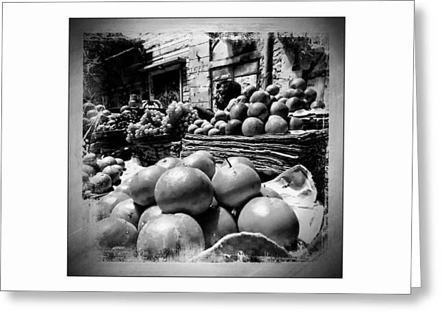 Shepherds Greeting Cards - Fruit Seller Blue City Street India Rajasthan BW 1b Greeting Card by Sue Jacobi
