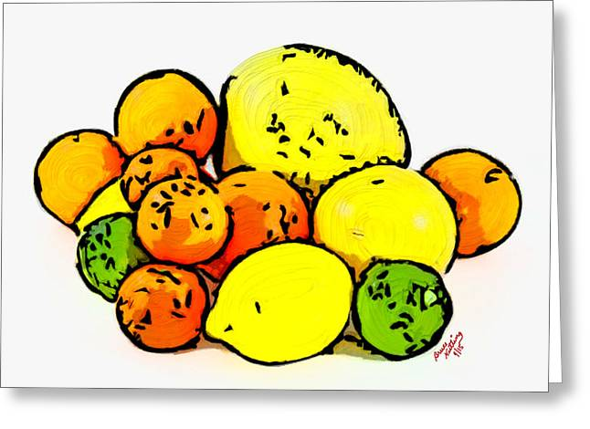 Tangerines Greeting Cards - Fruit Still Life Greeting Card by Bruce Nutting