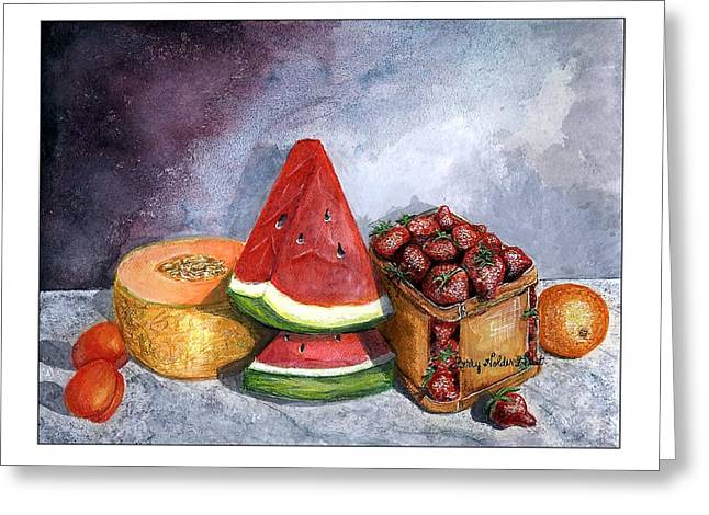 Watermelon Greeting Cards - Fruit Still Life Greeting Card by Sherry Holder Hunt
