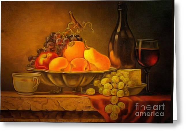 Fruit Table Buffet In Ambiance Greeting Card by Catherine Lott