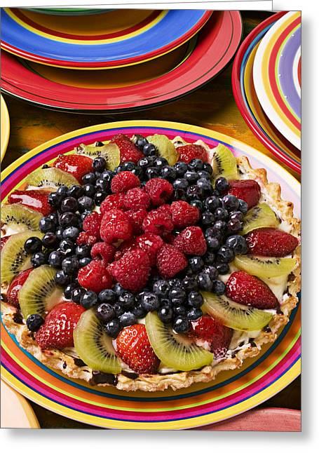 Topping Greeting Cards - Fruit tart pie Greeting Card by Garry Gay