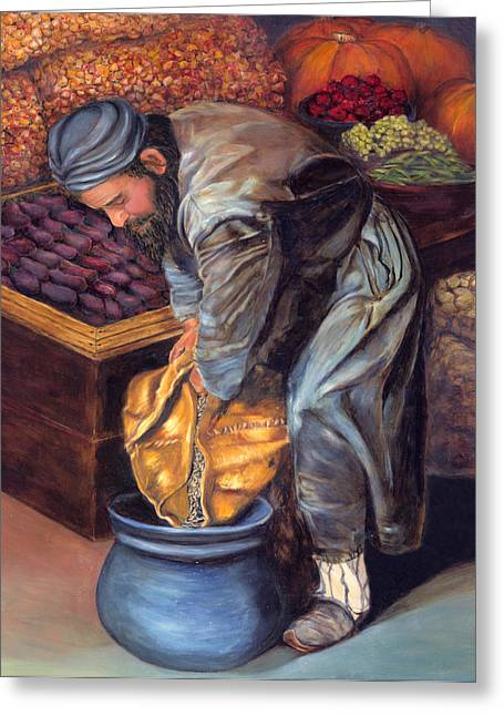 Food And Beverage Reliefs Greeting Cards - Fruit Vendor Greeting Card by Enzie Shahmiri