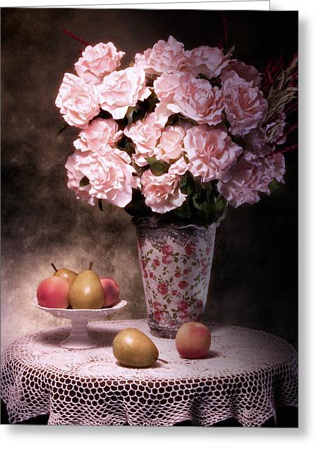 Pear Art Greeting Cards - Fruit With Flowers Still Life Greeting Card by Tom Mc Nemar