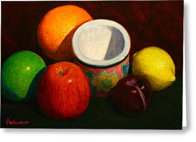 Terry Perham Greeting Cards - Fruit with small planter Greeting Card by Terry Perham