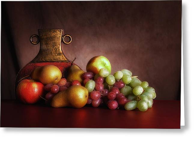 White Grapes Greeting Cards - Fruit With Vase Greeting Card by Tom Mc Nemar