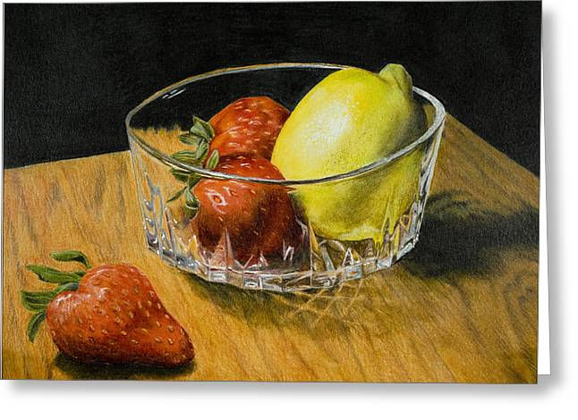 Glass Table Reflection Mixed Media Greeting Cards - Fruitful Greeting Card by Bryan Calcagno