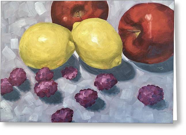 Shadows On Apples Greeting Cards - Fruits 2 Greeting Card by Velma Serrano