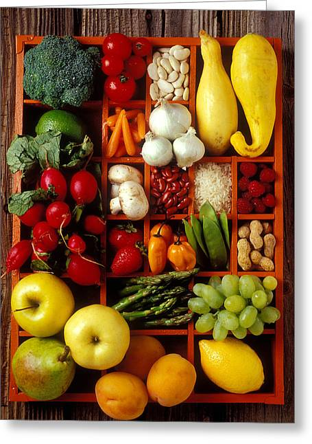 Broccoli Photographs Greeting Cards - Fruits and vegetables in compartments Greeting Card by Garry Gay