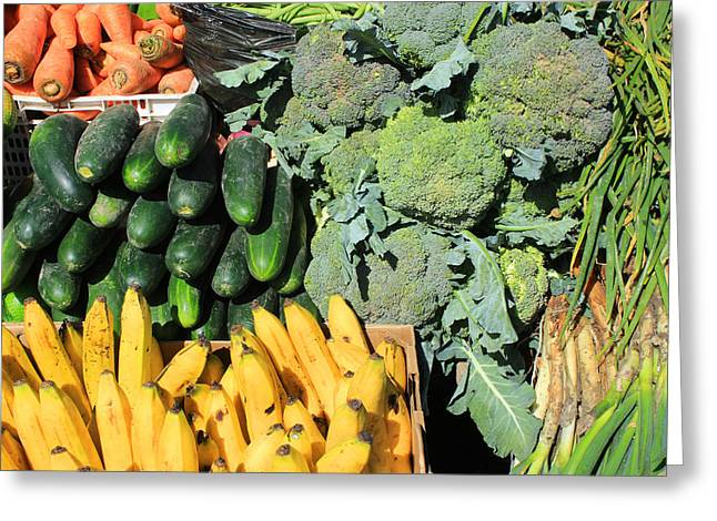 Broccoli Greeting Cards - Fruits and Vegetables in Otavalo Greeting Card by Robert Hamm