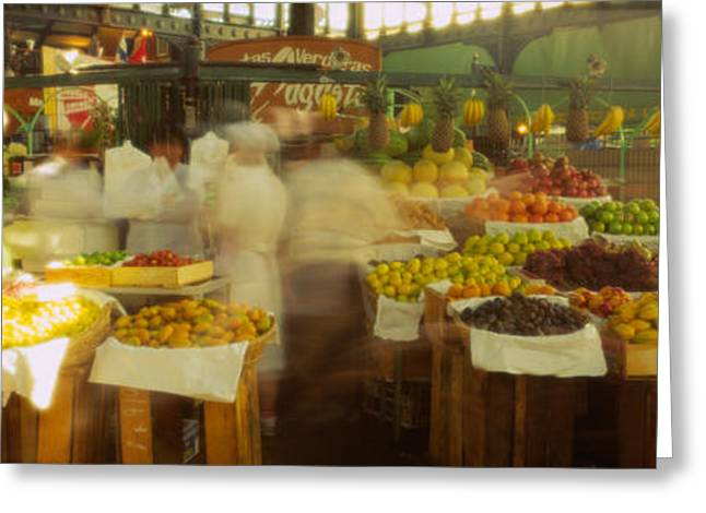 Fruit Stand Greeting Cards - Fruits And Vegetables Stall In A Greeting Card by Panoramic Images