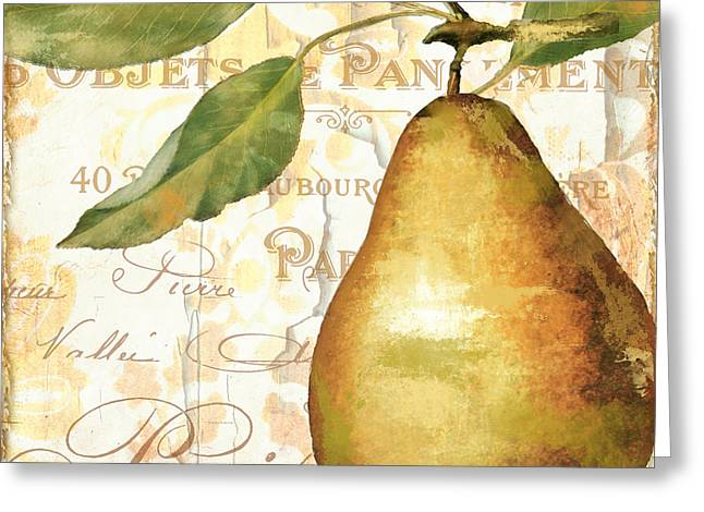 French Pears Greeting Cards - Fruits dOr Golden Pear Greeting Card by Mindy Sommers