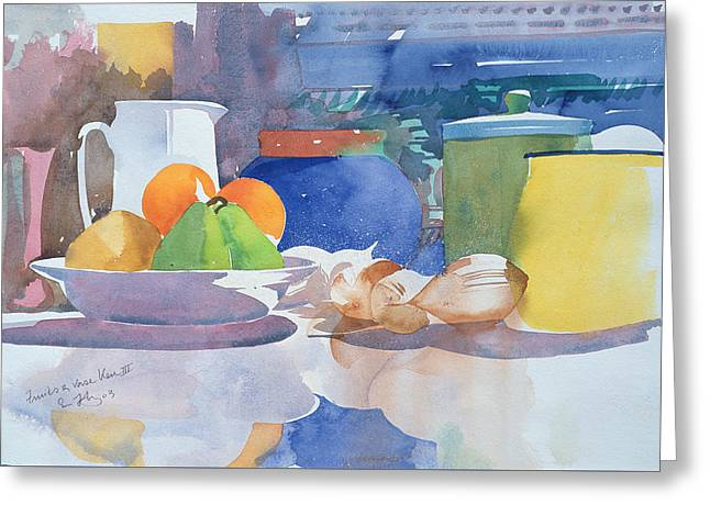 Water Jug Greeting Cards - Fruits et Vase Bleu II Greeting Card by Simon Fletcher
