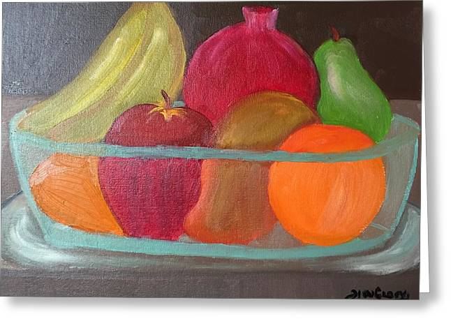 Glass Table Reflection Paintings Greeting Cards - Fruits for a leaner longer life Greeting Card by Ramya Sundararajan