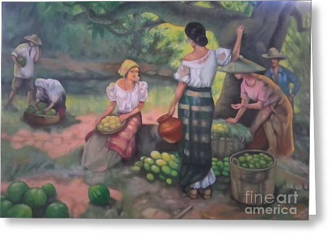 Filipina Greeting Cards - Fruits Seller Greeting Card by Vicente Santos