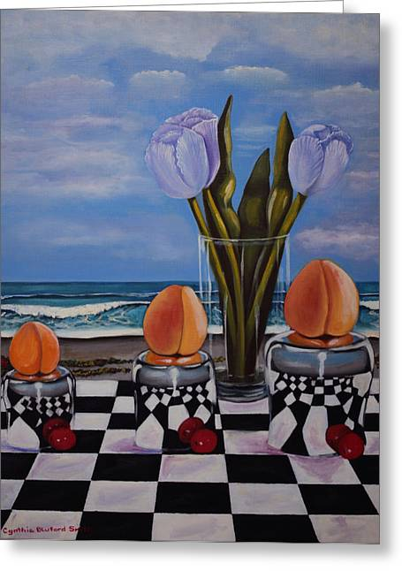 Fruity Day At The Beach Greeting Card by Cynthia Bluford