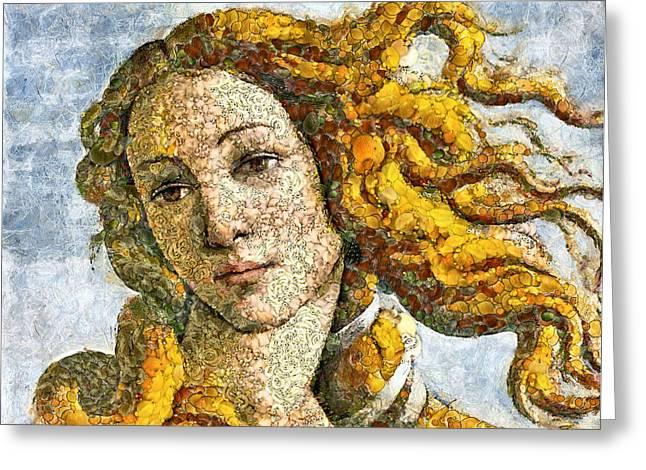 Long Hair Mixed Media Greeting Cards - Fruity Venus I am So Sorry Mr Boticelli Greeting Card by Georgiana Romanovna