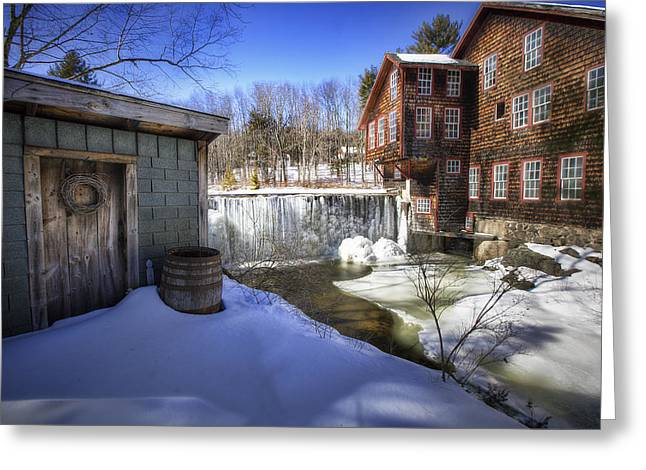England Town Greeting Cards - Fryes Measure Mill Greeting Card by Eric Gendron