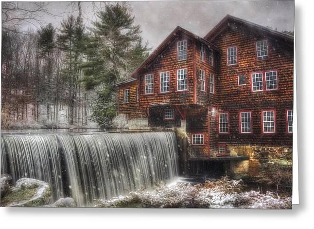 Frye's Measure Mill - Winter In New England Greeting Card by Joann Vitali