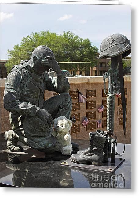 Metal Sculpture Greeting Cards - Ft. Hood War Memorial Greeting Card by Linda Phelps