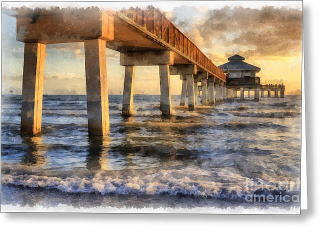 Ft. Myers Fishing Pier Watercolor Greeting Card by Edward Fielding