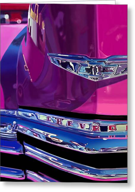 Chevrolet Pickup Truck Digital Greeting Cards - Fuchsia and Chrome Greeting Card by Bob Nolin