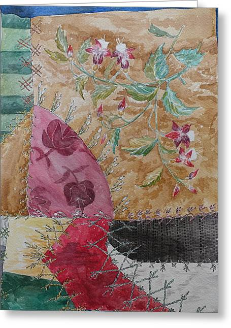 Crazy Quilt Greeting Cards - Fuchsia Greeting Card by Jane Durrell