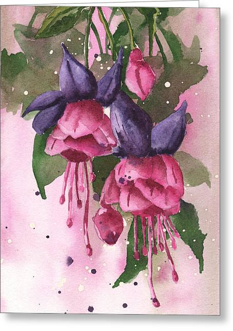 Fuchsia Painting Greeting Card by Alison Fennell