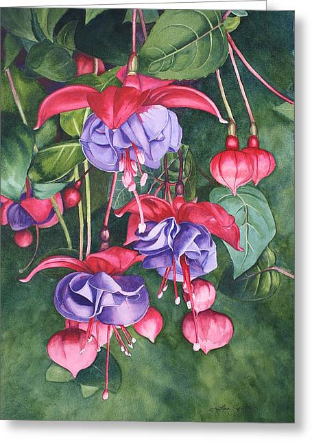 Fuchsia Trio Greeting Card by Tina  Sander