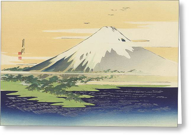 Fuji From The Beach At Mio Greeting Card by Ogata Gekko