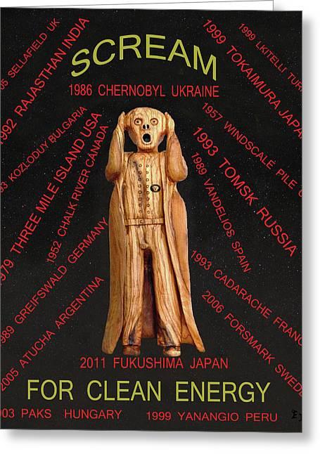 Scream World Tour Mixed Media Greeting Cards - Fukushima Greeting Card by Eric Kempson
