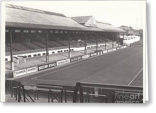 Craven Cottage Greeting Cards - Fulham - Craven Cottage - East Stand Stevenage Road 1 - Leitch - September 1969 Greeting Card by Legendary Football Grounds