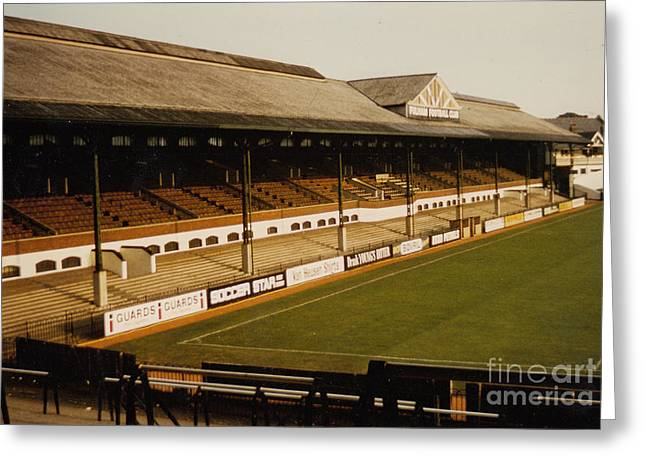 Craven Cottage Greeting Cards - Fulham - Craven Cottage - East Stand Stevenage Road 2 - Leitch - August 1986 Greeting Card by Legendary Football Grounds