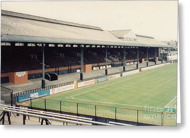 Craven Cottage Greeting Cards - Fulham - Craven Cottage - East Stand Stevenage Road 3 - Leitch - August 1991 Greeting Card by Legendary Football Grounds