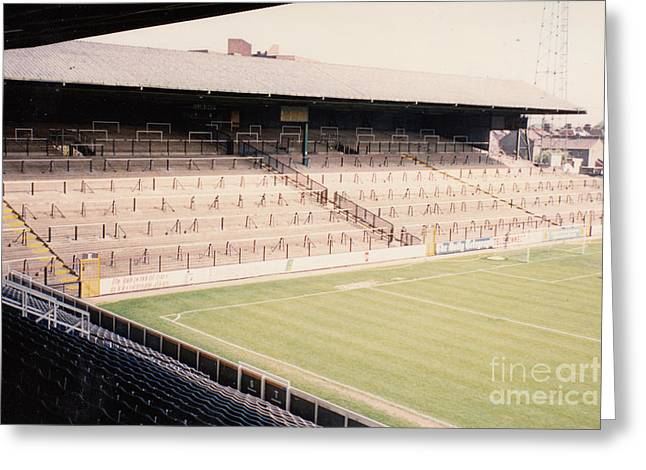 Craven Cottage Greeting Cards - Fulham - Craven Cottage - North Stand Hammersmith End 1 - April 1991 Greeting Card by Legendary Football Grounds