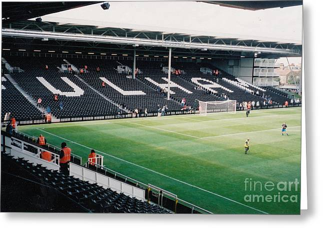 Craven Cottage Greeting Cards - Fulham - Craven Cottage - North Stand Hammersmith End 3 - July 2004 Greeting Card by Legendary Football Grounds