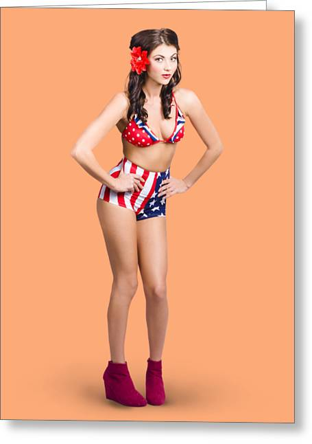 Full Body Pin-up Girl. American Retro Style Greeting Card by Jorgo Photography - Wall Art Gallery
