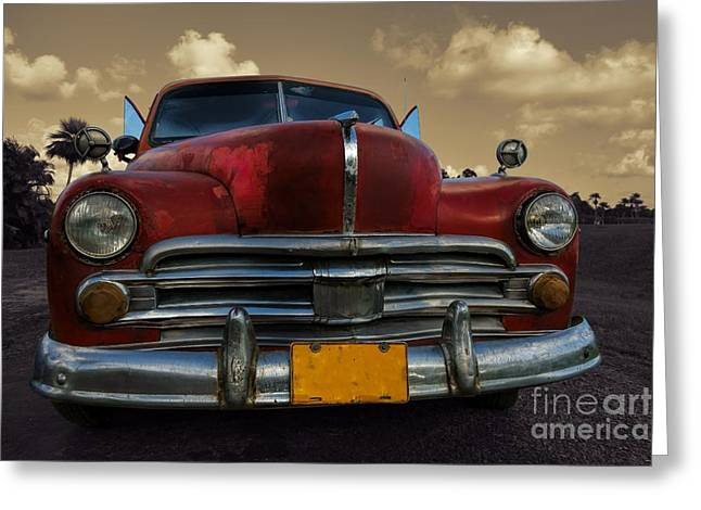 Old Street Greeting Cards - Full classic car in rural setting in Cuba Greeting Card by Mikko Palonkorpi