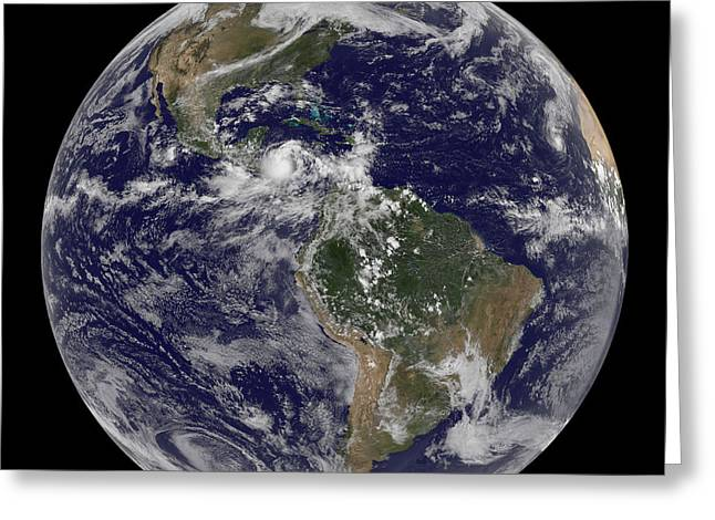 Planet Map Greeting Cards - Full Earth Showing North America Greeting Card by Stocktrek Images