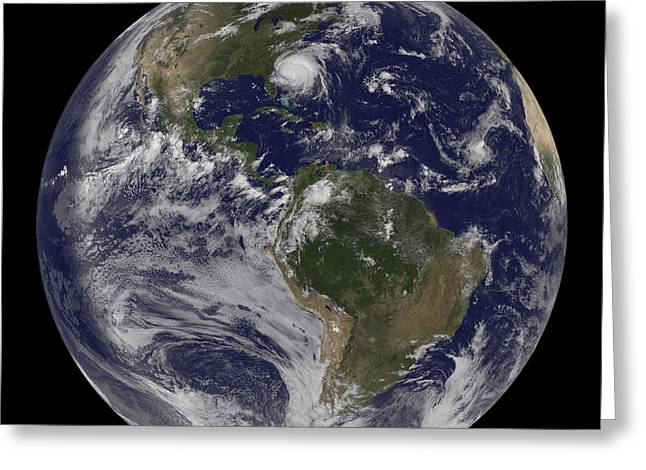 Western Hemisphere Greeting Cards - Full Earth With Hurricane Irene Visible Greeting Card by Stocktrek Images