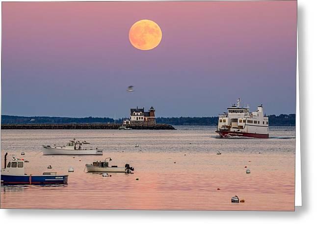 Full Hunter Moon Over Rockland Breakwater Greeting Card by Tim Sullivan