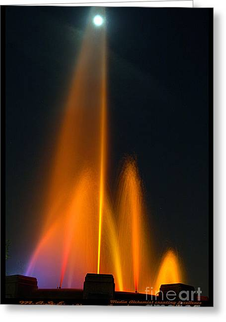 Bruster Greeting Cards - Full Moon and Fiery Fountain Greeting Card by Clayton Bruster