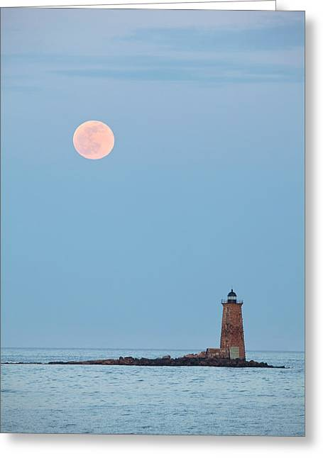Maine Icons Greeting Cards - Full Moon and Whaleback Greeting Card by Eric Gendron