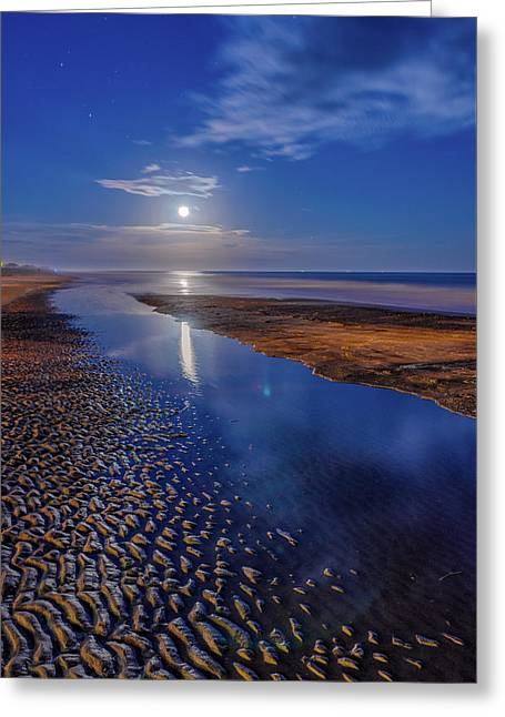 Abstract Waves Greeting Cards - Full Moon at Folly Beach - Charleston SC  Greeting Card by Drew Castelhano