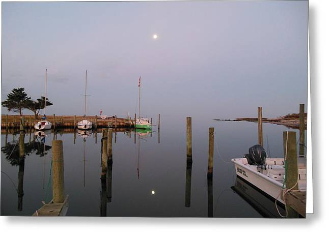 Recently Sold -  - Kite Greeting Cards - Full Moon Avon Harbor Greeting Card by Mark Lemmon