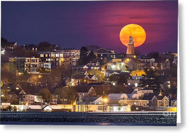 Maine Icons Greeting Cards - Full Moon Behind the Portland Observatory Greeting Card by Benjamin Williamson